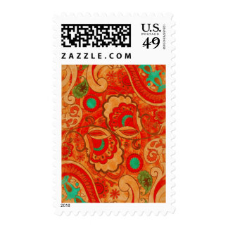 Funky Burnt Orange Red Turquoise Vintage Paisley Stamps