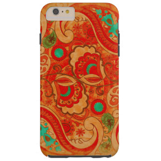 Funky Burnt Orange Red Turquoise Vintage Paisley Tough iPhone 6 Plus Case