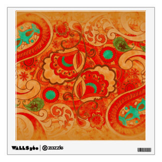 Funky Burnt Orange Red Turquoise Vintage Paisley Wall Decal