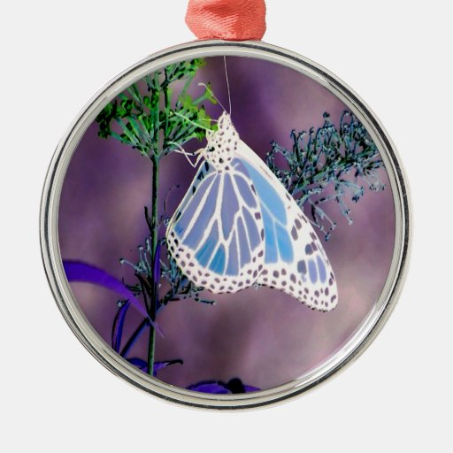 Funky Butterfly Round Metal Christmas Ornament