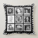 Funky BW Zebra with 9 Instagram Photos Pillows