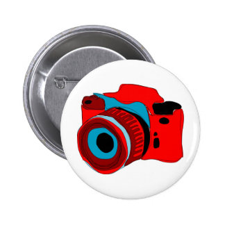 Funky camera graphic illustration 2 inch round button