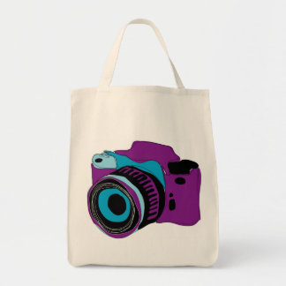 Funky camera graphic illustration grocery tote bag