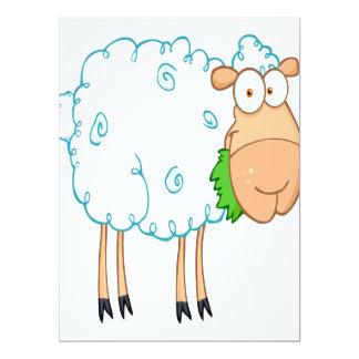 funky cartoon white sheep 6.5x8.75 paper invitation card