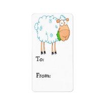 funky cartoon white sheep label