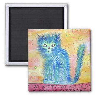 Funky Cat 2 Inch Square Magnet