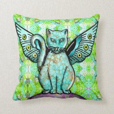 Funky Cat - 3D Throw Pillows