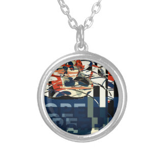Funky Cat Abstract Silver Plated Necklace