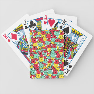 Funky cat pattern bicycle playing cards