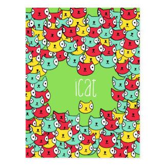 Funky cat pattern postcard
