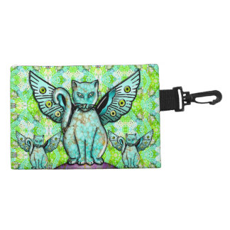 Funky Cats - Aqua (Personalized Clip On) Accessory Bag