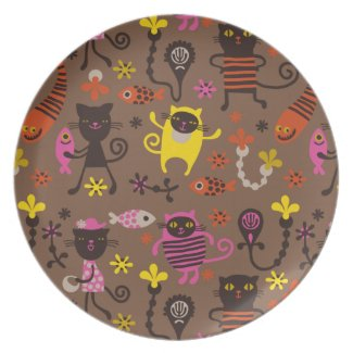 Funky cats dinner plate