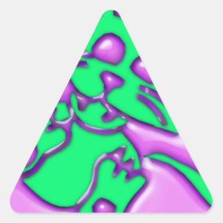 Funky Cement Cat Triangle Sticker