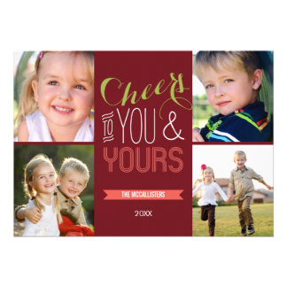 Funky Cheers Holiday Photo Cards Cards