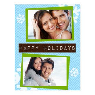 Funky Chevron Label Holiday Postcard