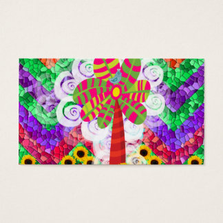 Funky Chevron Mosaic Tree Swirls Sunflowers Summer Business Card