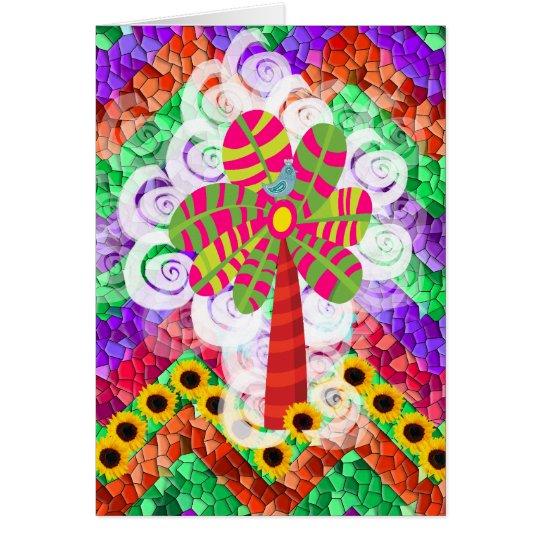 Funky Chevron Mosaic Tree Swirls Sunflowers Summer Card