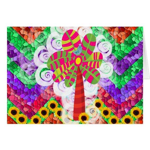 Funky Chevron Mosaic Tree Swirls Sunflowers Summer Cards