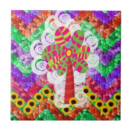 Funky Chevron Mosaic Tree Swirls Sunflowers Summer Ceramic Tile