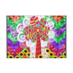 Funky Chevron Mosaic Tree Swirls Sunflowers Summer Cover For iPad Mini