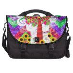 Funky Chevron Mosaic Tree Swirls Sunflowers Summer Laptop Bag