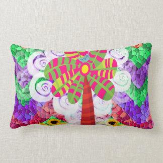 Funky Chevron Mosaic Tree Swirls Sunflowers Summer Pillow