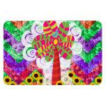 Funky Chevron Mosaic Tree Swirls Sunflowers Summer Flexible Magnet