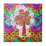 Funky Chevron Mosaic Tree Swirls Sunflowers Summer Tile