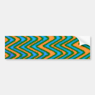 funky chic fun chevron orange blue green pattern bumper sticker