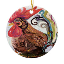 Funky Chicken Ceramic Ornament