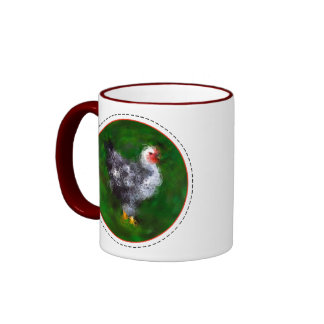 Funky Chicken with Rooster warning Ringer Mug