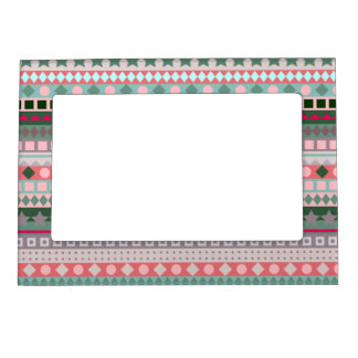 Funky Christmas Green and Pink Chic Zigzag Stripes Magnetic Frame