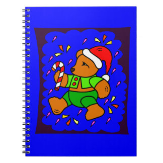 Funky Christmas Teddy Spiral Notebook