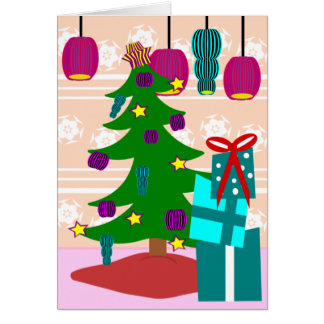 Funky Christmas Tree and Gift Greeting Card
