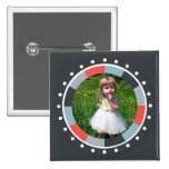 Funky Circle frame2 - Grey and Red on black Button