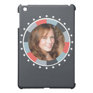 Funky Circle frame2 - Grey and Red on black Cover For The iPad Mini