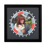 Funky Circle frame2 - Grey and Red on black Gift Boxes