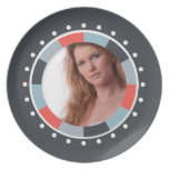 Funky Circle frame2 - Grey and Red on black Party Plate