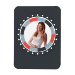 Funky Circle frame2 - Grey and Red on black Magnets