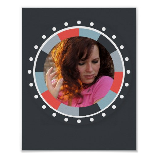 Funky Circle frame2 - Grey and Red on black Print