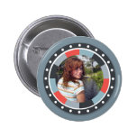 Funky Circle frame2 - Grey and Red on grey Pinback Button