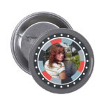 Funky Circle frame2 - Grey and Red on grey Pinback Buttons
