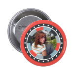 Funky Circle frame2 - Grey and Red on red Pinback Buttons