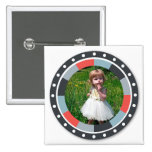 Funky Circle frame2 - Grey and Red on white Pinback Button