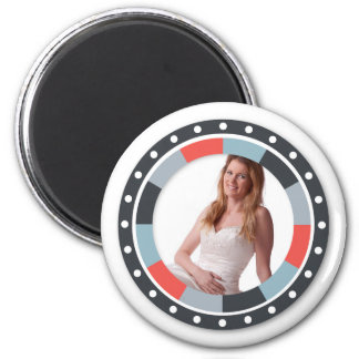 Funky Circle frame2 - Grey and Red on white Magnet