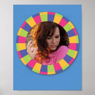 Funky Circle frame - Disco! on blue Print