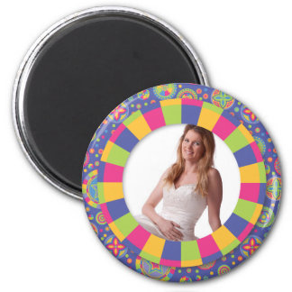 Funky Circle frame - Disco! on pattern 2 Inch Round Magnet