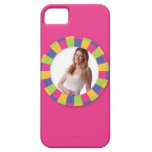 Funky Circle frame - Disco! on pink iPhone 5 Cases