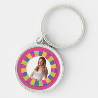 Funky Circle frame - Disco! on pink Keychain