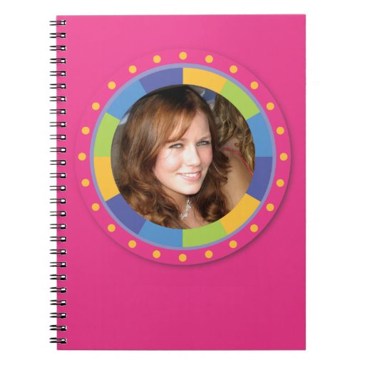 Funky Circle frame - Disco! on pink Notebook